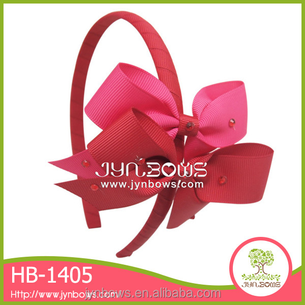 Red hairband design handmade large butterfly hair bow headband