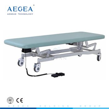 AG-ECC03 Quality steel frame 4 silent wheels with cross brakes electric exam table