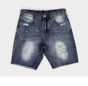 OEM basic denim short jeans men dark stone wash bermuda short