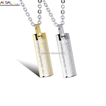 2017 New Stainless Steel necklace Tags rectangle Shaped Pendant fashion Cross Pendant