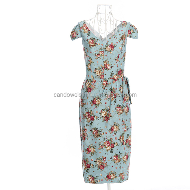 2017 summer casual women pencil dresses linen floral deep V neck
