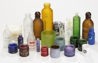 Various glass bottles with plastic / alu lids