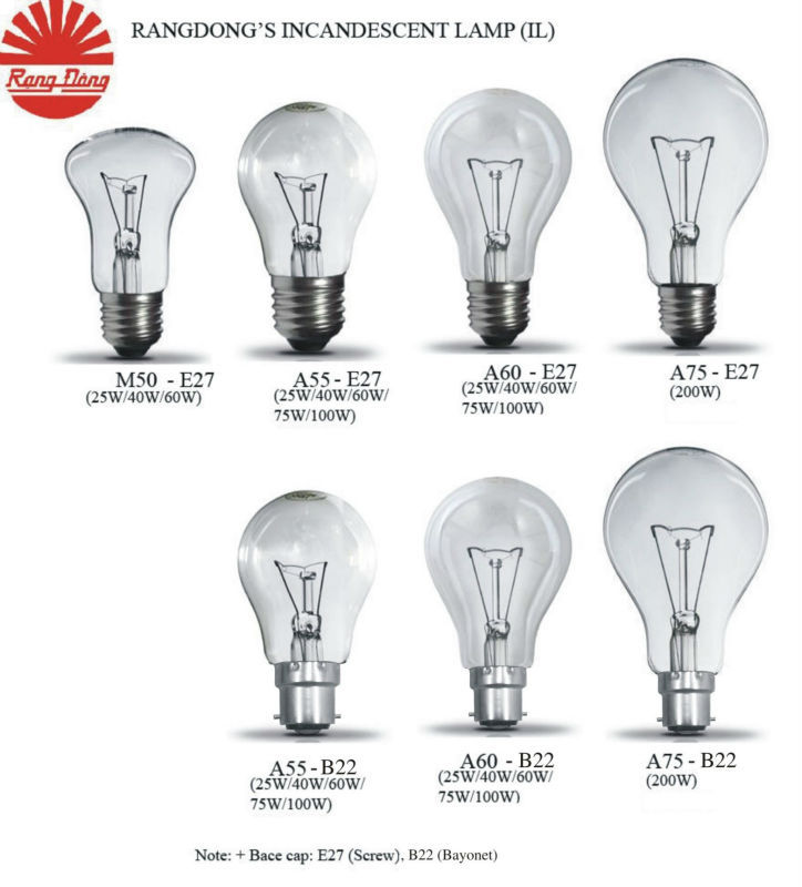 A55 Clear E27 75W Incandescent lamp