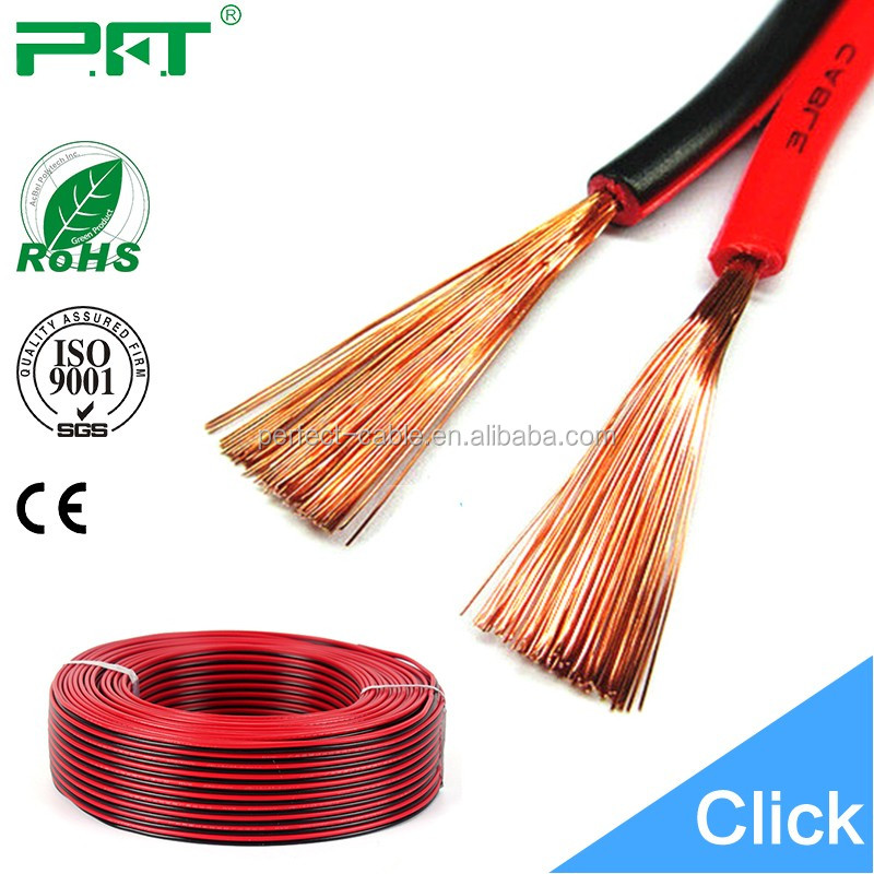 High quality 2 Cores standard speaker cable red and black speaker <strong>wire</strong>