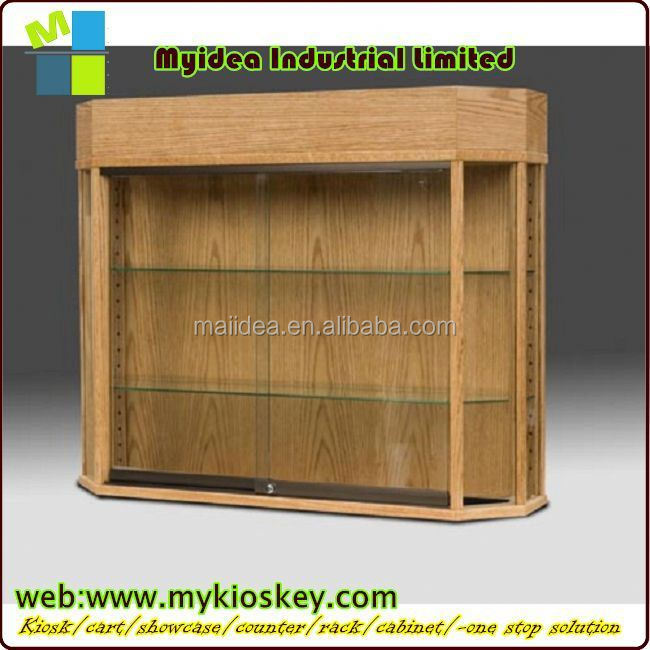 high quality glass tower stand wooden watch display showcase corner showcase cabinet