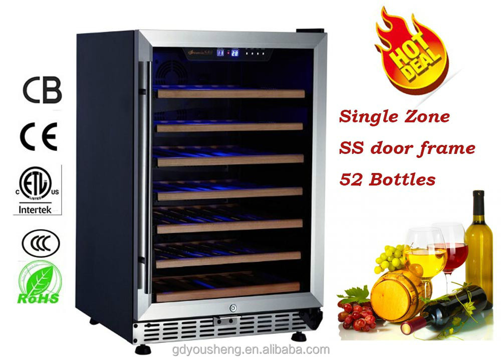 Humidity Control Red Wine fridge /Refrigerator with 7 pcs Beech Shelves and loaded with 52 Bottles Wine Cooler
