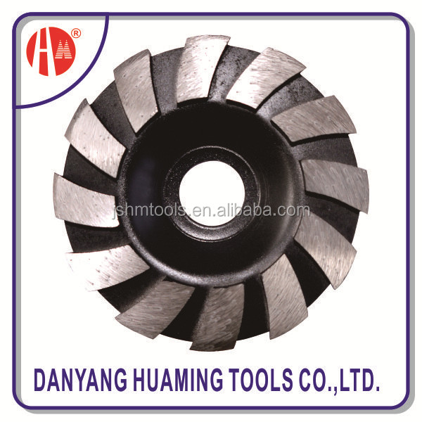 turbo cup grinding wheel with guide segment for long life cutting hard and dense material