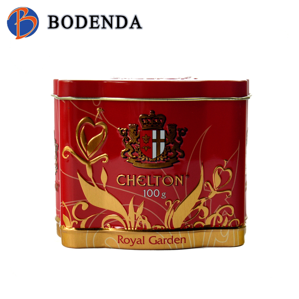 Glossy Custom Embossed Logo Metal Tea Coffee Packaging Tin Box