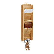 3 tiers bamboo wood storage rack wall shelf with 3 key hooks