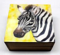 ZEBRA Art Image Printed Wooden Box - 10 x 10 x 5 Cm.