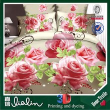 3D reactive printed 100% polyest bedding set with full size 4pcs bedding set 3d luxury Wedding Duvet cover set JX-3d