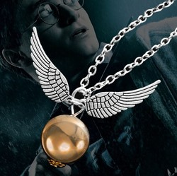 fashionable wing shape snitch gold necklace