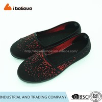 New style wholesale handmade women plain black stretch canvas shoes