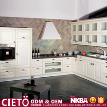 Country style Modular white pvc door kitchen cabinets for kitchen