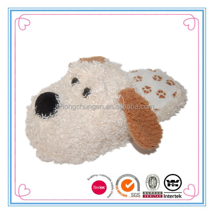 New design Cream plush ladies teddy dog slippers