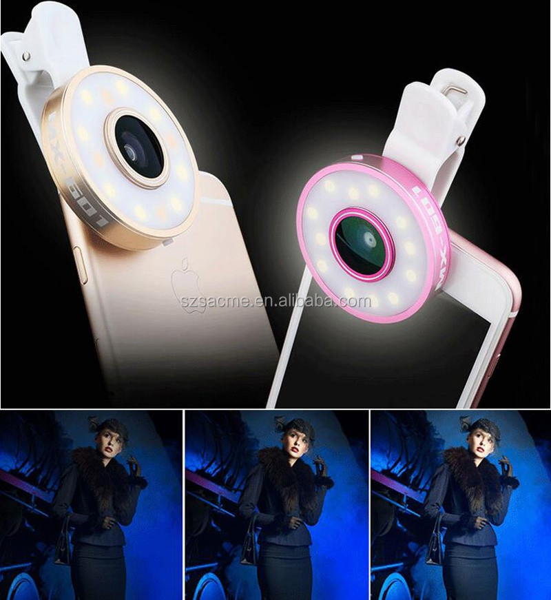 6 in 1 Selfie LED Flash Light With Fisheye Lens Macro Wide angle Selfie Light