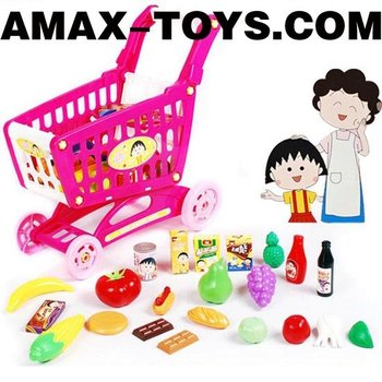 ht-808507 Toys shopping cart Children pretend toys shopping cart with all sorts of food