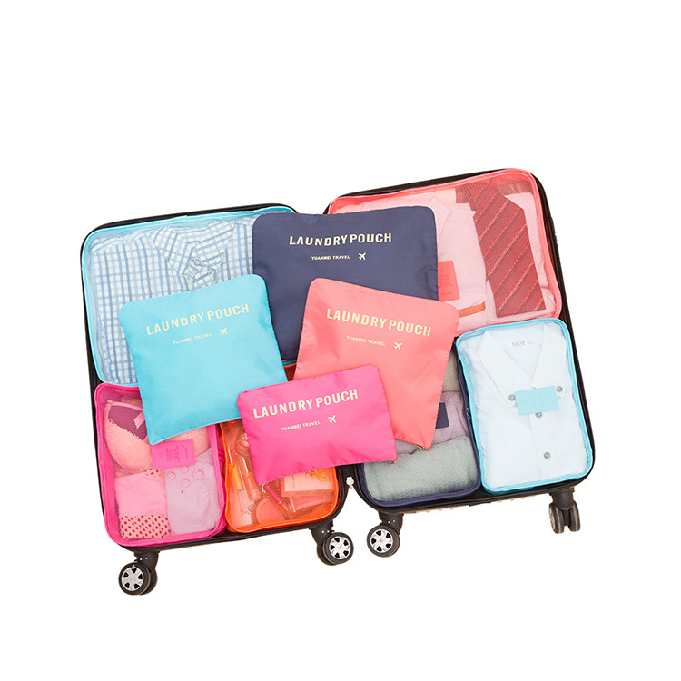 <strong>Travel</strong> fashion waterproof 6 piece packing cubes for suitcases