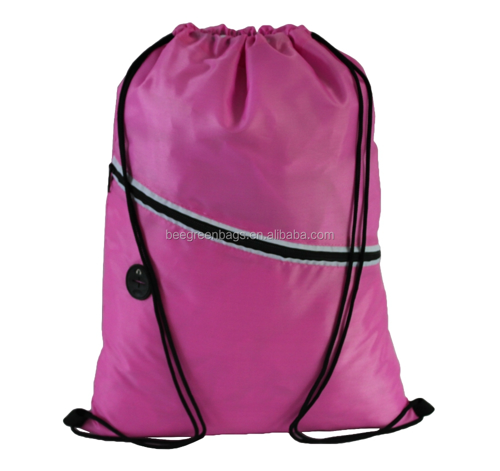 Custom Printing 210D polyester drawstring sport backpack with headphone
