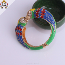 BLX-00303 animal head bracelet bangles expandable enamel bangle brid parrot with pave rhinestone