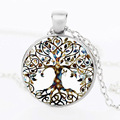 New metal color life tree wedding jewelry set gem necklace fashion short paragraph necklace