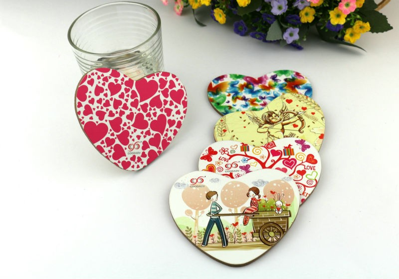 Guangzhou factory custom MDF cork coaster set waterproofing table wood coaster