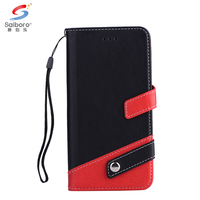 Contrast color wallet flip litchi grain leather mobile phone cases covers for samsung galaxy j3 j5 j7 2017