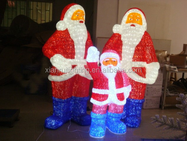 High Quality lighted outdoor plastic santa claus
