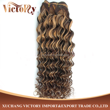 Side by Side color F4/24 Curl Deep Wave Human Hair Extension