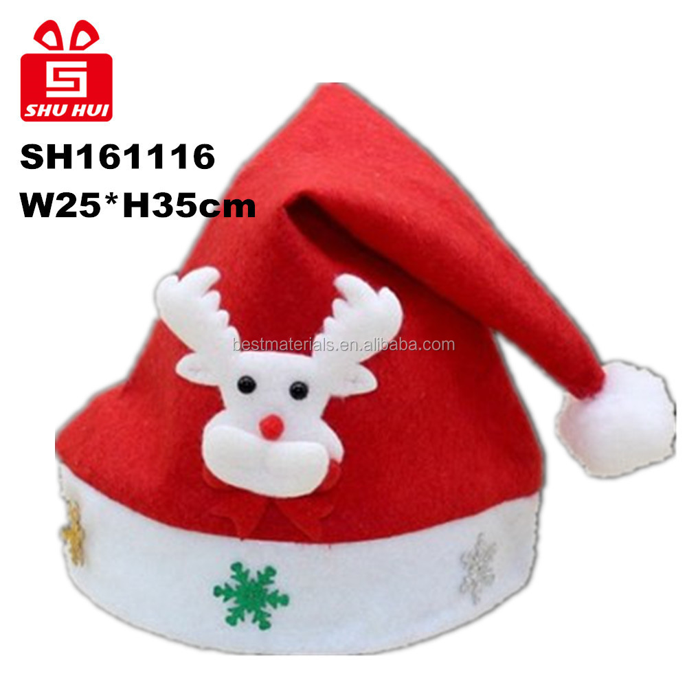 New design christmas decoration Christmas Hat with Christmas ball/stars/bows /crutch decoration on desk