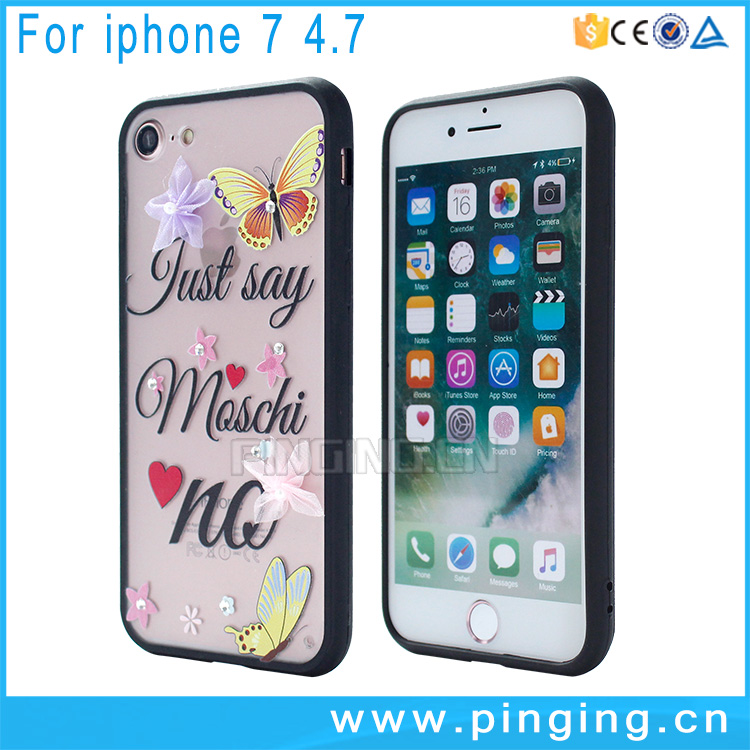 New Innovative Product With 3D Flower Pearl Diamond Butterfly Paterrn Sublimation Case for Apple iPhone 7 Phone Case