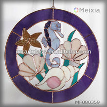 MF080359 china wholesale stained glass ocean animal craft wall hanging window decoration suncatchers for home decoration item