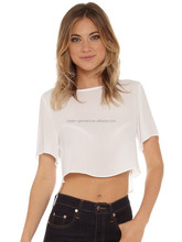 custom ladies crop top plain white wholesale
