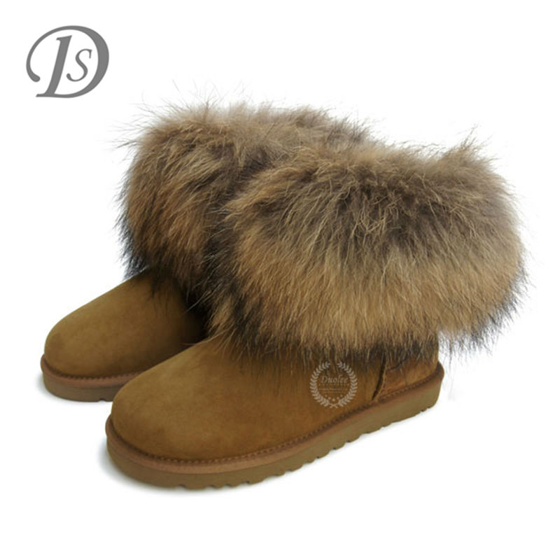 fur lined natural Sheepskin ankle boot with fur