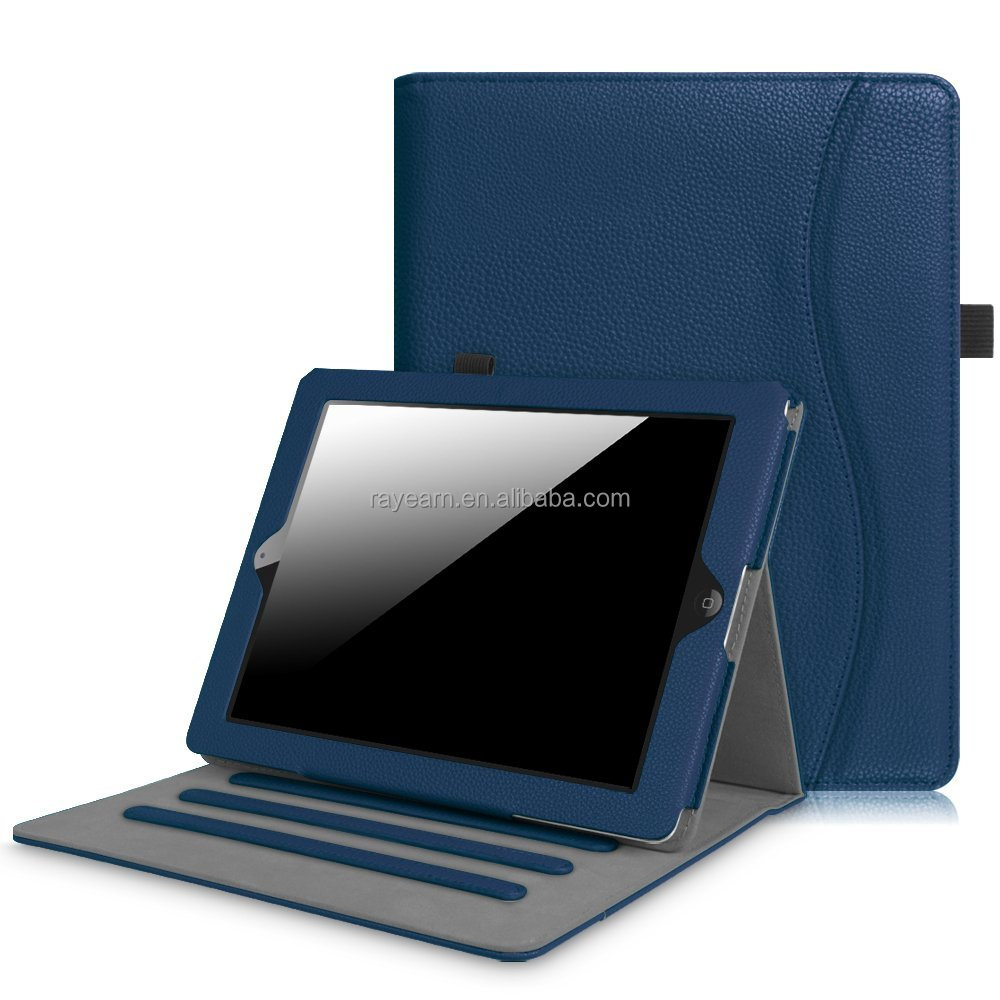 PU leather case for iPad 2.3.4 with card holder and standing