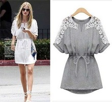 Summer fashion women new casual European style round neck lace sleeve dress with belt wholesale