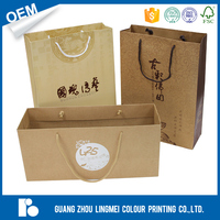 Top sale custom brown kraft gift paper bag promotion cheap packing clothes luxury kraft paper shopping bag with logo printed