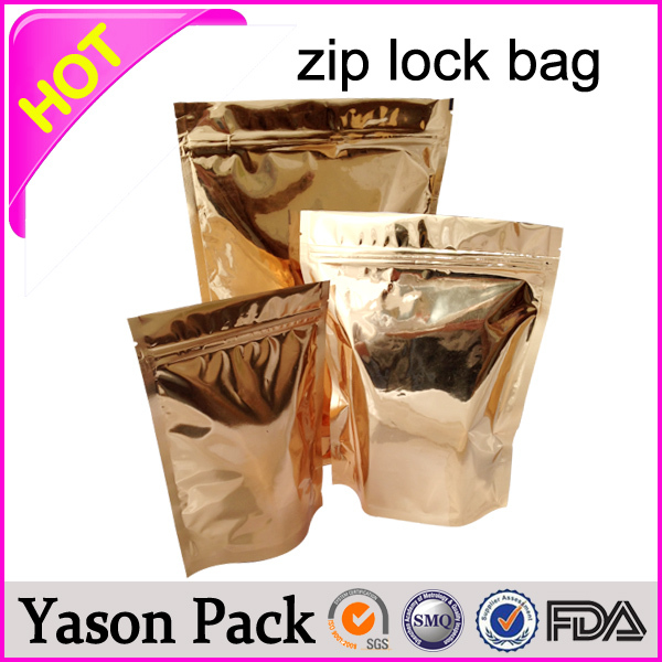 Yason shining gold ziplock aluminum foil bag zipper food storage bag hot sale stand up ziplock bag for beef jerkys