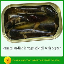 Canned sardine in vegetable oil with pepper