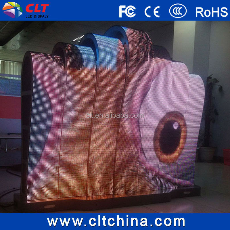 curved led screen display soft/flexible led advertising sign/P6/P8P/10 full color led modules