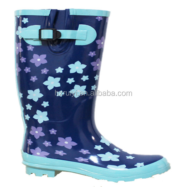 ladies long flower pattern gum rubber boots,antiskid good quality rain footwear with buckle,gum boots