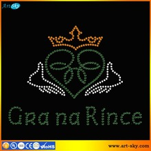 Artsky professional factory provide DMC stone paper Gra na Rince Crown heart hands wholesale iron on transfers