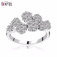 Teemi Luxury Bridal Jewelry Women Braided CZ Pave Flower Opening Engagement Trendy Ring