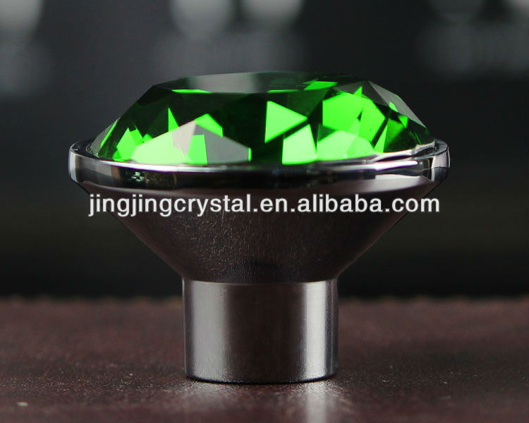 Green Artificial Diamond Crystal Knob Pull 40mm China factory