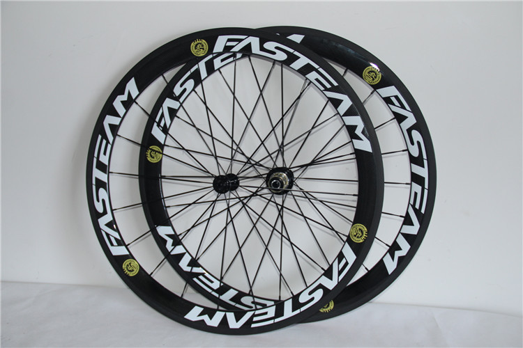 700c chinese carbon wheels FASTEAM 50mm clincher wheels 23mm width rim available for powerway hubs CN spokes all black