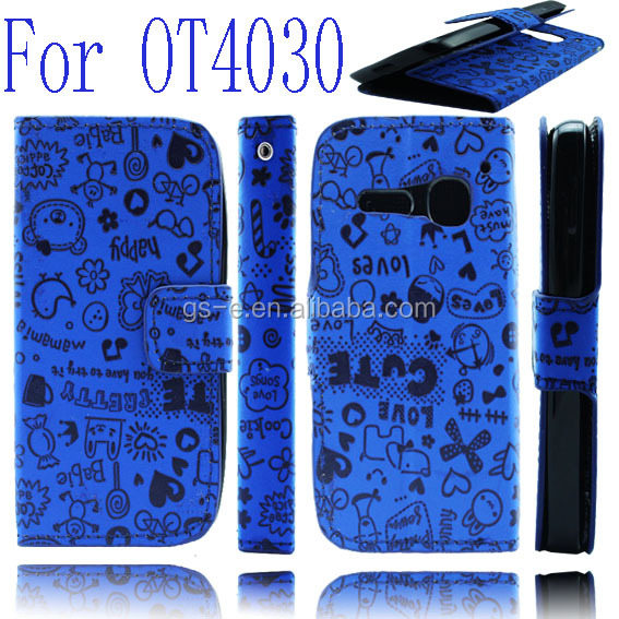 Spare Parts Wallet Flip Leather Case For Alcatel One Touch Spop OT 4030 D