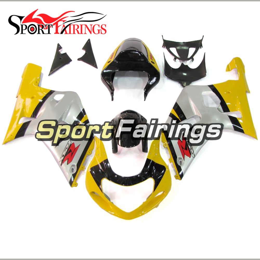 Silver Yellow Injection Fairings For Suzuki GSXR600 GSXR750 K1 Year 00 <strong>01</strong> <strong>02</strong> 03 ABS Plastic Complete Motorcycle Fairing Kit