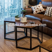 New design wood side table Hexagon shape coffee table decorative next table small