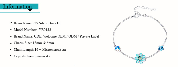 ODM OEM 925 sterling silver jewelry manufacturer custom blue crystal from Swarovski flower fashion bracelet