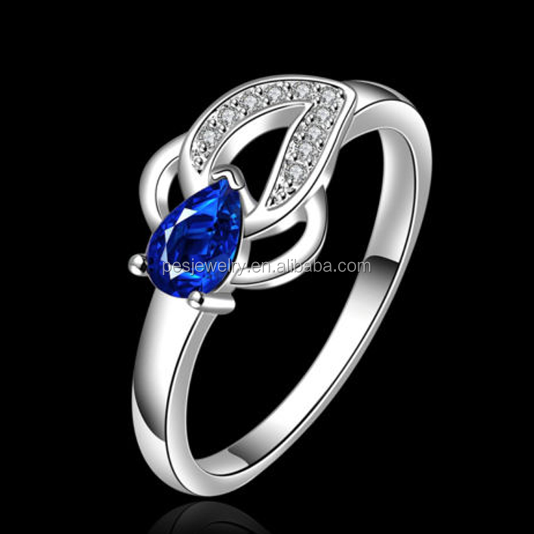 Fashion jewelry Pearl shape Leaf Blue sapphire Ring(PES6-1491)